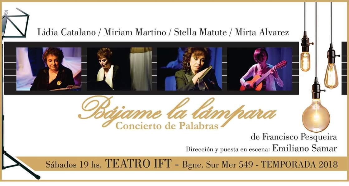 """Teatro: """"Bájame la lámpara... concierto de palabras"""" - 2x1 afiliadxs a UTE-Ctera"""