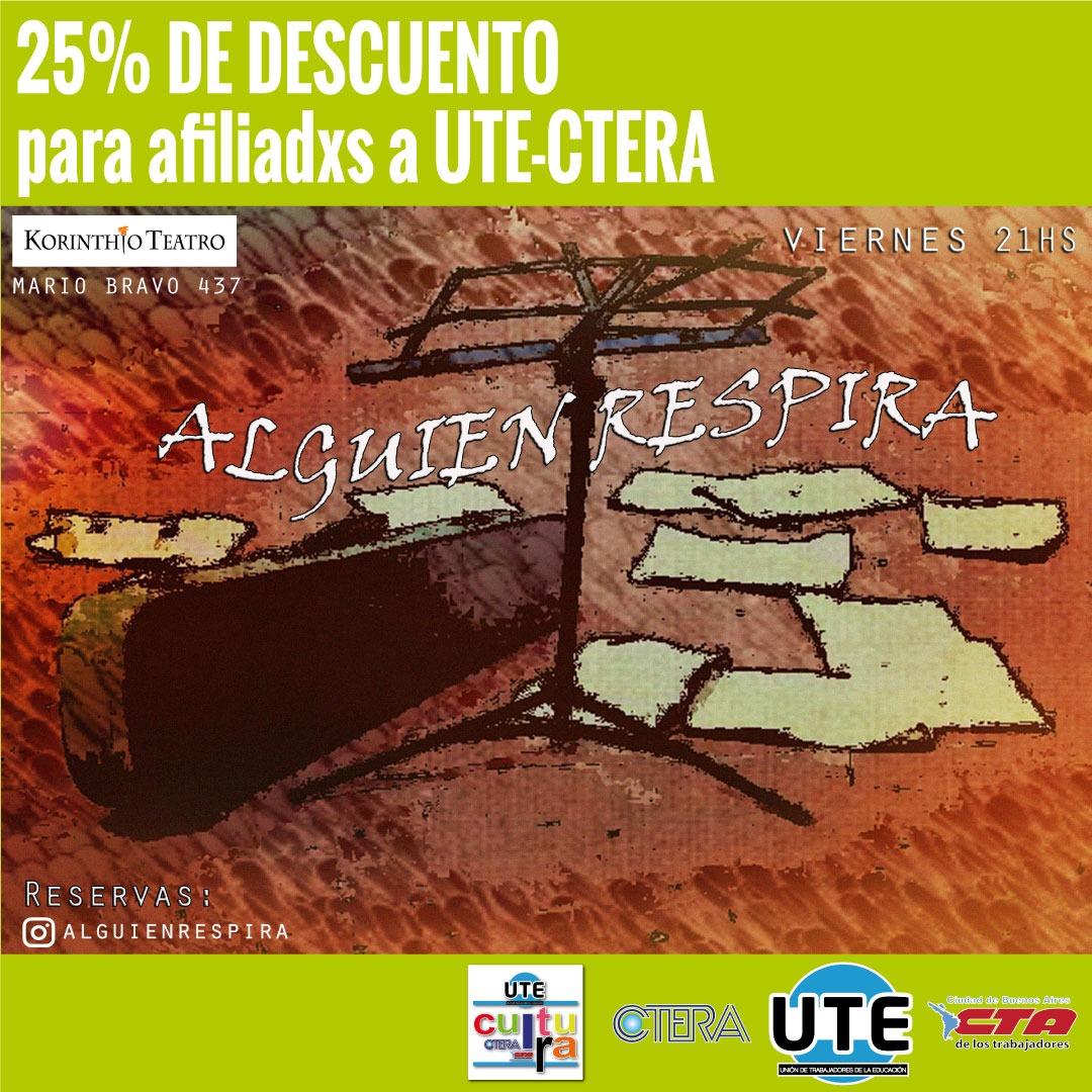 Alguien Respira - 25% de descuento para afiliadxs a UTE