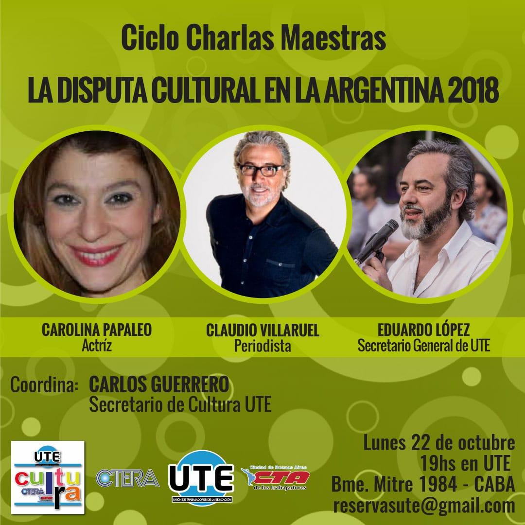 Ciclo Charlas Maestras en UTE - Lunes 22 de Octubre - 19hs.