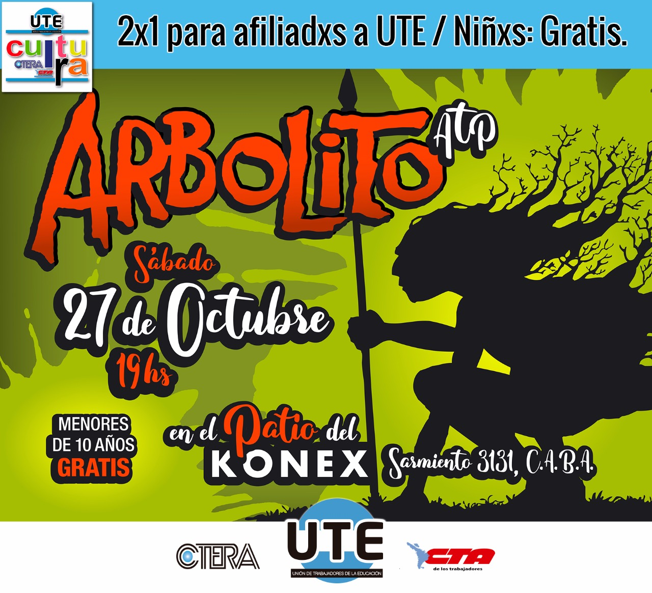 Arbolito en el Konex - 2x1 para afiliadxs - Niñxs gratis.