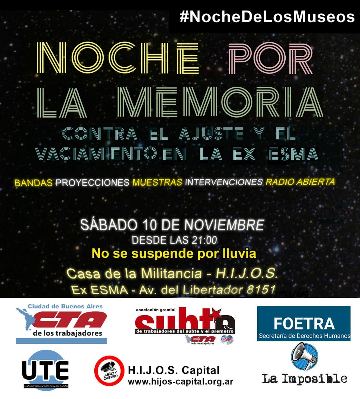 NOCHE POR LA MEMORIA - Sábado 10 de Noviembre - 21hs.