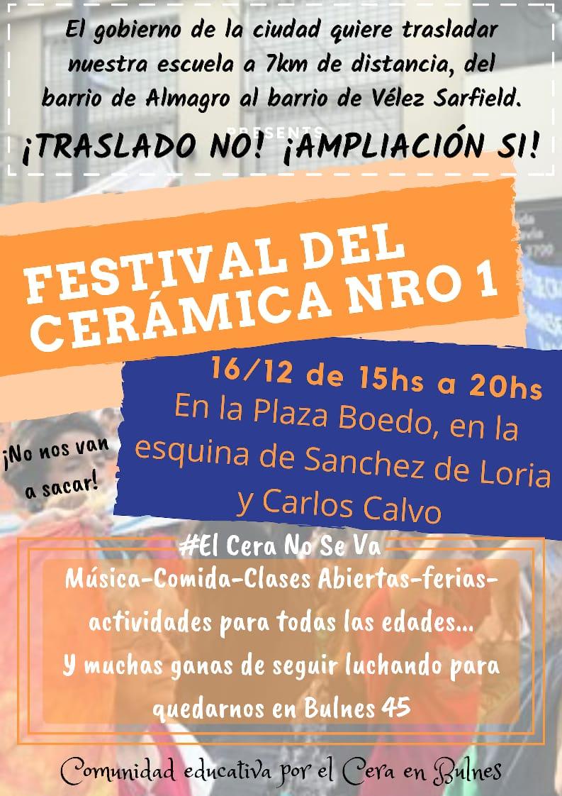 Festival en defensa de la Escuela de Cerámica Nro 1