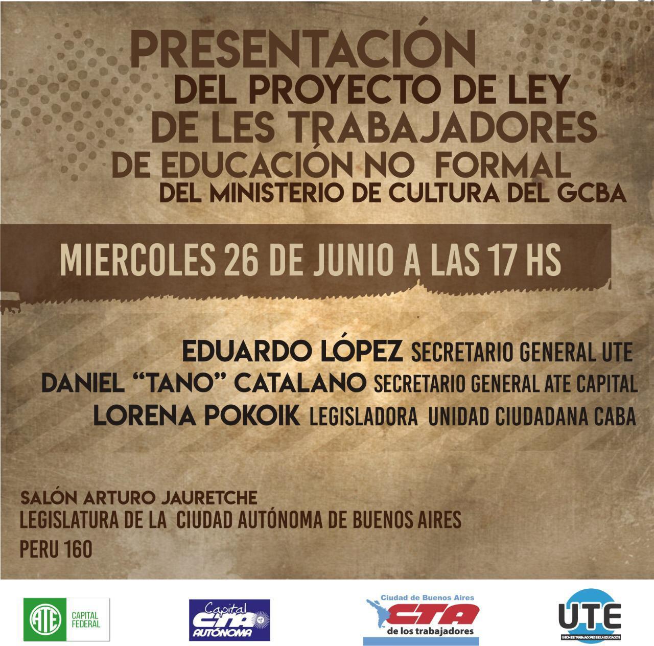 PROYECTO DE LEY DE LXS TRABAJADORXS DE EDUCACIÓN NO FORMAL DEL MINISTERIO DE CULTURA DEL GCBA.
