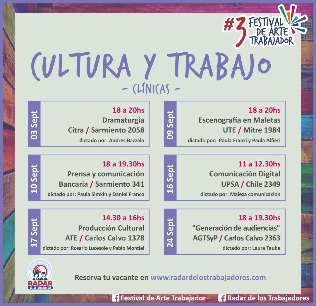 Clínicas en la III edición del Festival de Arte Trabajador organizado por Radar de los trabajadores.