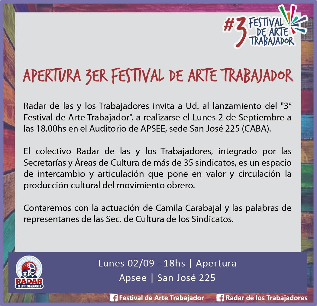 Apertura del 3er Festival de Arte Trabajador