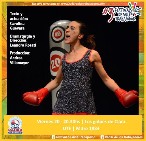 Los golpes de Clara (Comedia de género) - Viernes 20 de Septiembre - 20:30hs. en UTE - A LA GORRA